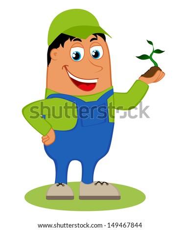 Happy gardener, vector illustration isolated on white background  - stock vector
