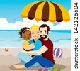 Happy gay couple family enjoying a day on the beach with their adopted black baby girl - stock