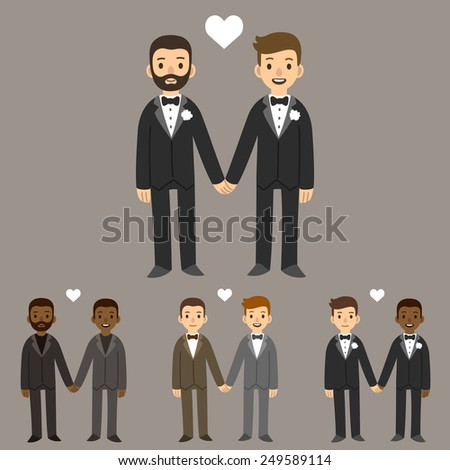 happy gay wedding couples holding hands - stock vector