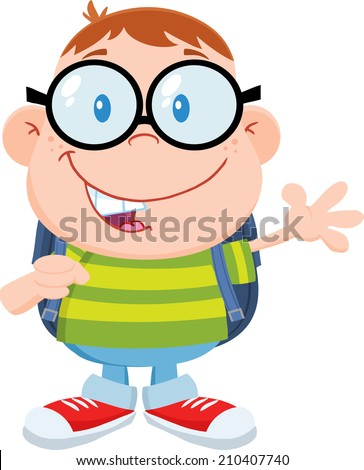 Happy Geek Boy Waving Flat Design. Vector Illustration Isolated on white - stock vector