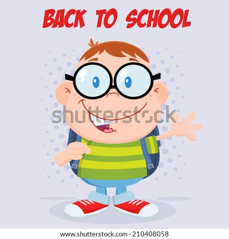 Happy Geek Boy Waving Flat Design With Background And Text. Vector Illustration  - stock vector
