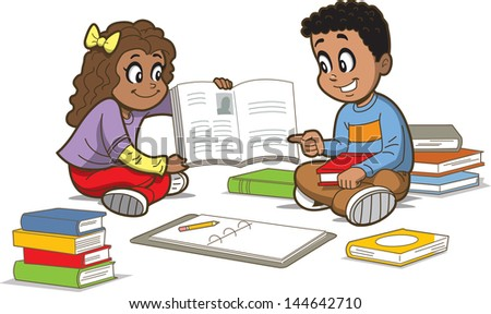 Happy Girl and Boy Sitting on the Floor with a Bunch of Books - stock vector