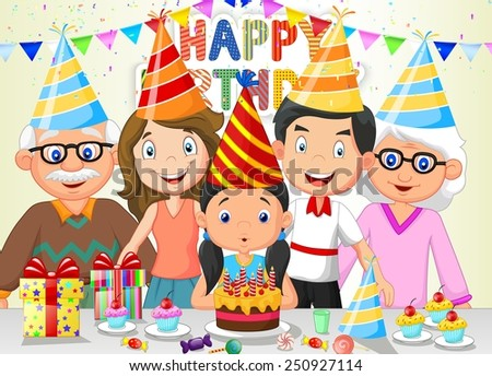 Happy girl blowing birthday candles with her family - stock vector