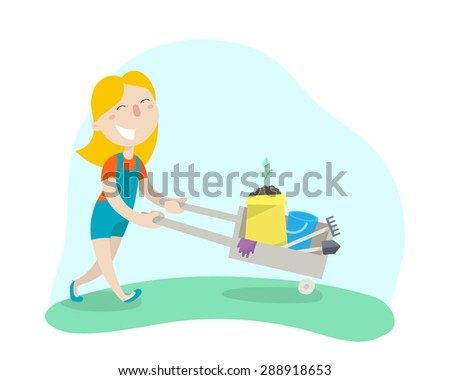 Happy girl carries a cart with garden tools. Flat design. Vector illustration.