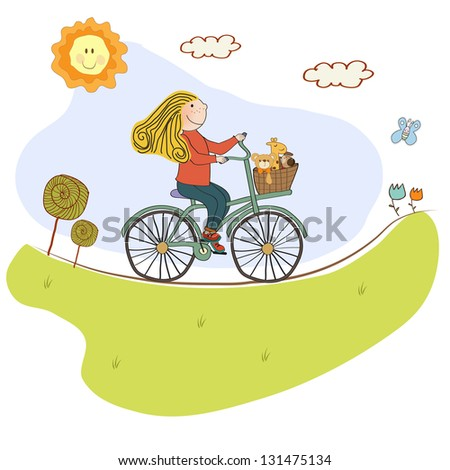 happy girl on bike, vector illustration