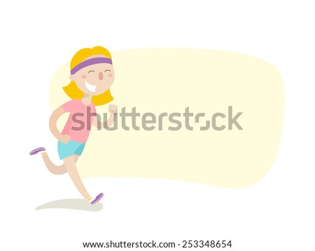 Happy girl on morning jog - stock vector