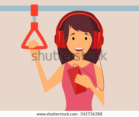 Happy girl passenger listening to the music traveling in the subway. Vector illustration - stock vector