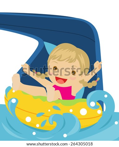 Happy girl playing water slide Sledge - stock vector