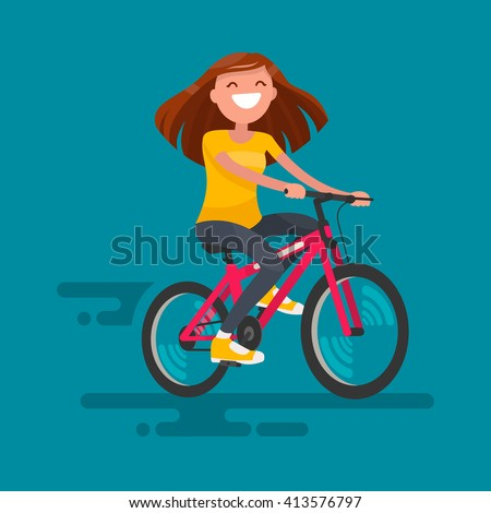 Happy girl riding a bicycle. Vector illustration - stock vector