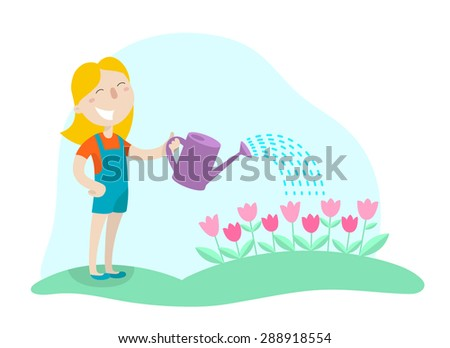 Happy girl watering flowers from a watering can in his garden. Flat design. Vector illustration. - stock vector