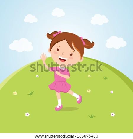Happy girl waving. Happy day! - stock vector