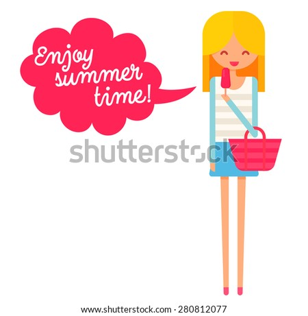 Happy girl with ice cream with speech bubble text enjoy summer time. Flat vector character.