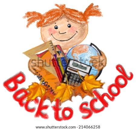 Happy girl with school supplies - stock vector