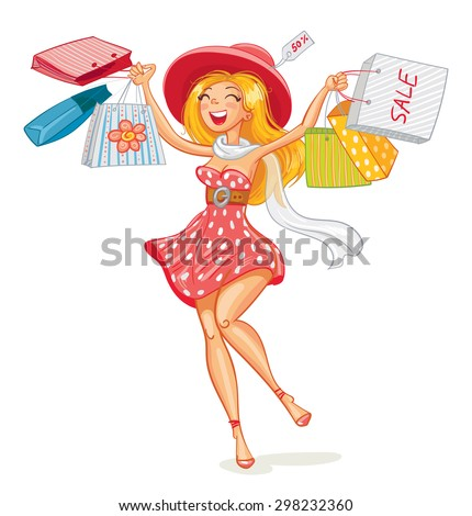Happy girl with shopping bags in shop. Shopper. Sales. Funny cartoon character. Vector illustration. Isolated on white background - stock vector