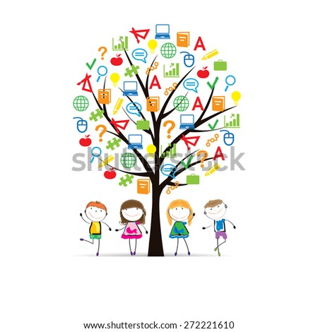 Happy girls and boys and school tree - stock vector