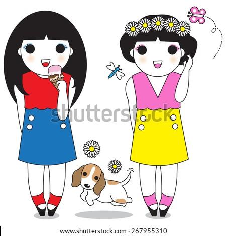 Happy Girls are the Prettiest illustration set - stock vector