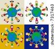 Happy globes kids; african, asian, european... - stock photo