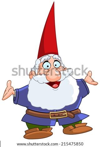 Happy gnome raising his arms - stock vector