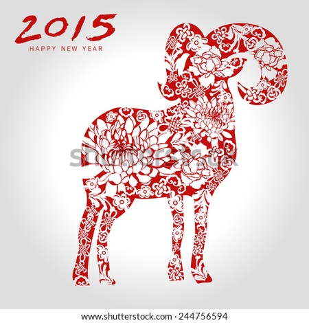 Happy goat year chinese style-vector - stock vector