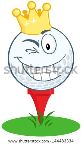Happy Golf Ball Cartoon Character With Gold Crown Winking. Vector Illustration - stock vector