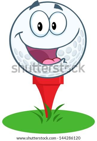Happy Golf Ball Cartoon Mascot Character Over Tee. Vector Illustration - stock vector