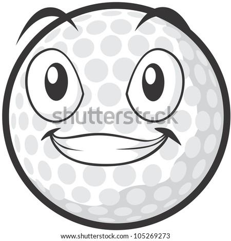 happy golf ball illustration stock vector 105269273 shutterstock rh shutterstock com Golf Ball Trophy Emoji Emoji Golf Ball with Grey Background