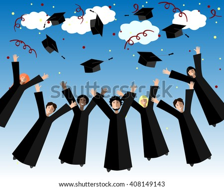 Happy Graduates Throw up Graduation Hands.Graduation Background. Jumping Students and Graduation Caps in the Air.