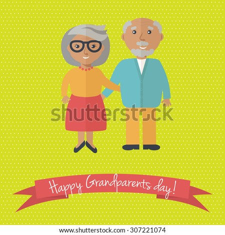 Happy Grandparents day card. Vector illustration of grandmother and grandfather. - stock vector