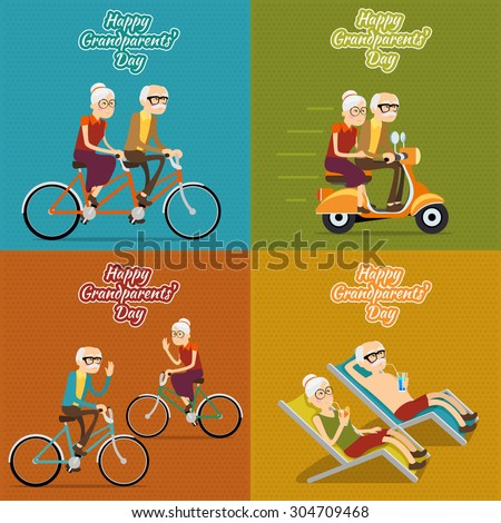 Happy grandparents day vector background, poster or post card. Grandmother and grandfather, people old woman and man illustration set - stock vector
