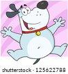 Happy Gray Fat Dog Cartoon Character Jumping - stock vector