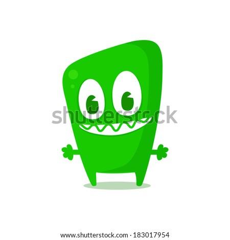 Happy green monster - stock vector
