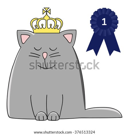 happy grey cat with a crown and pageant winner rosette - stock vector