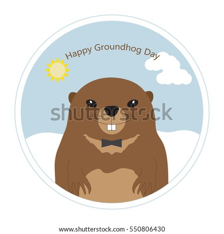 Happy Groundhog Day. Greeting card with cute groundhog in frame. Vector illustration.
