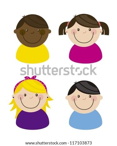 happy group children, team. vector illustration