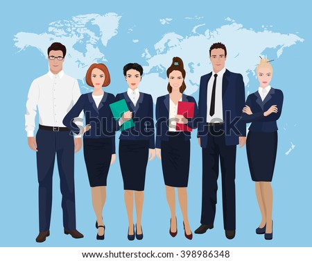 Happy group of a professional business team standing over on world map background. Businessman team. - stock vector