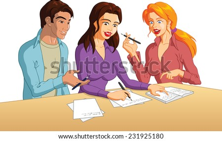 Happy Group Of Young College Students Studying Together - stock vector