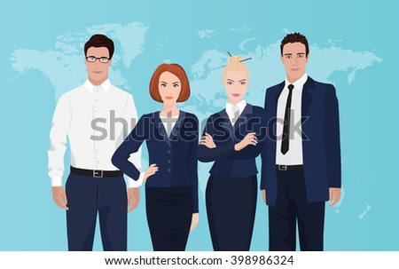Happy group portrait of a professional business team on world map background. Young businessman. - stock vector