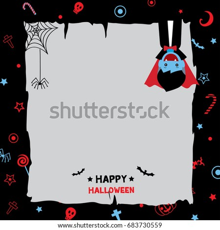 Happy Halloween background design with little v&ire costume on pattern black background.  sc 1 st  Shutterstock & Happy Halloween Background Design Little Vampire Stock Vector ...