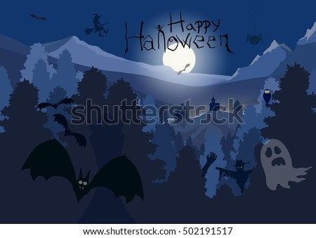 Happy Halloween background. Halloween night vector art in forest with bats, ghost, witch, vampire, owl and spider