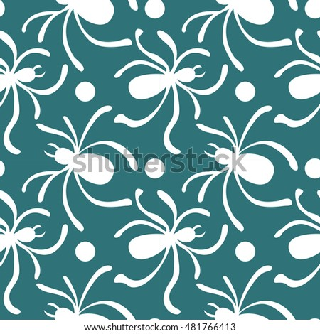Happy Halloween background. Seamless pattern with traditional holiday symbols skulls, spider on web. Vector illustrations.