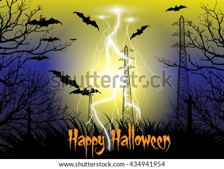 Happy Halloween background with electricity pylon silhouette with thunder storm, cross, dead tree, bats - stock vector