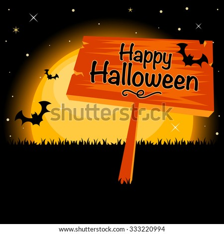 Happy Halloween background with full moon landscape - stock vector