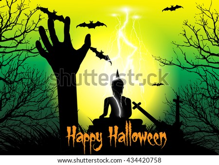 Happy Halloween background with raising zombie hand,big buddha statue, cross, dead tree, bats, and thunderbolt - stock vector