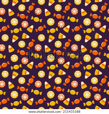 Happy Halloween! Background with sweets. Seamless pattern. Vector illustration. - stock vector