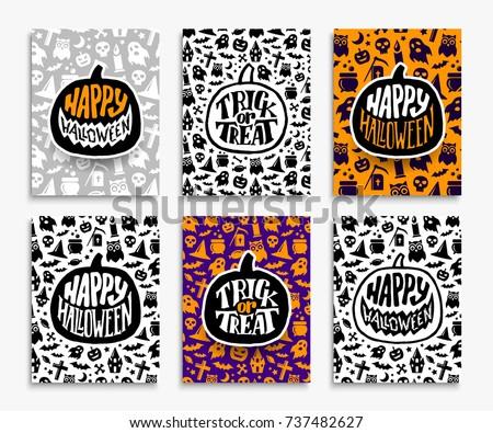 Happy Halloween Backgrounds Trick Treat Text Stock Vector (Royalty ...
