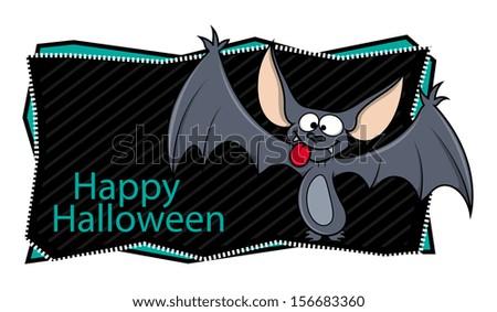 happy Halloween banner along with cartoon bat - stock vector
