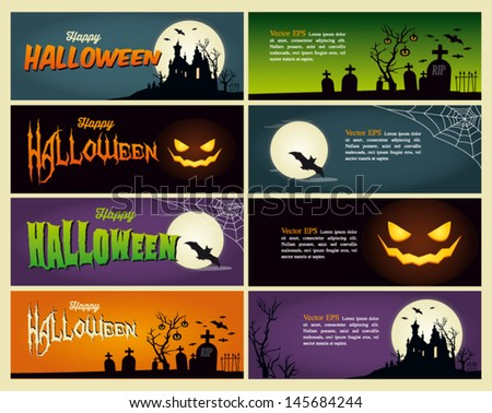 Happy halloween banner. Set of vector design elements. - stock vector
