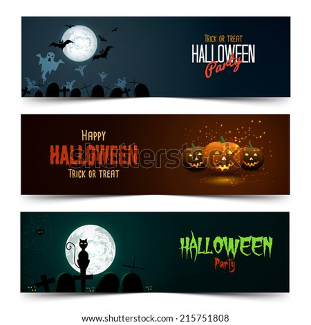 Happy Halloween banner set. Vector - stock vector