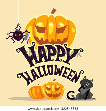 Happy halloween banner template with text and cute cartoon halloween character, black cat and scary spider. Halloween pumpkins. Vector illustration  - stock vector