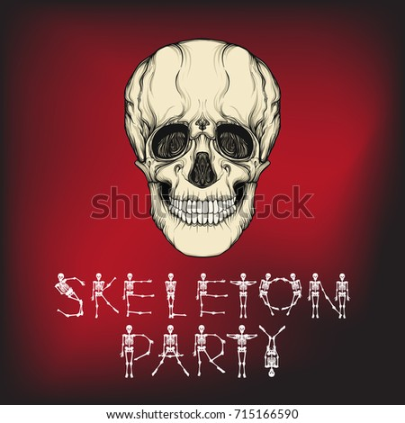 happy halloween banner with human skull good for halloween or t - Good Halloween Font